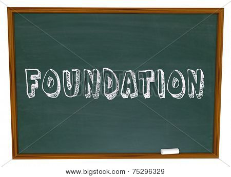 Foundation word written on a chalkboard in a business class to learn about starting a business with a strong basis