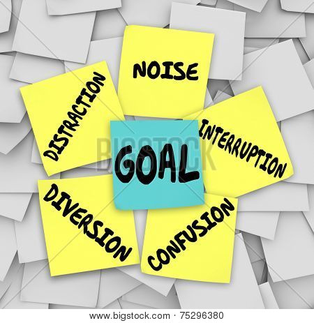 Goal word on sticky note surrounded by distractions, diversions, confusion, interruptions, and noise to keep you from accomplishing your mission or objective