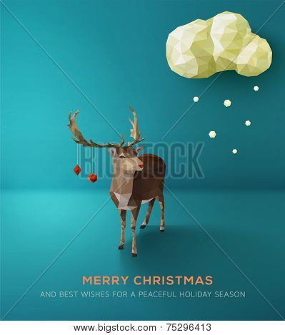 Christmas Card. Geometric polygonal reindeer against blue landscape. Vector Illustration