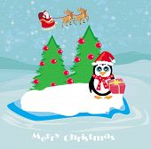 Penguin with Christmas gift and Santa Claus on winter landscape , vector illustration poster
