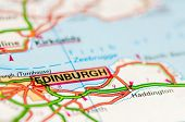 Close-up on Edinburgh city on map travel destination concept poster