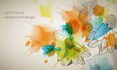 eps10 vector multicolor grunge vintage ink splatter with flower outline drawing background poster