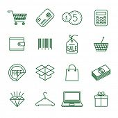 Shopping   thin line vector icon set  poster