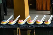 bakery spoon mockup presentation buffet line for customer interesting product poster