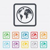 Globe sign icon. World map geography symbol. Round squares buttons with frame. Vector poster