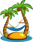 Vector illustration of the island with palm trees and a hammock. Over white. EPS 8 poster