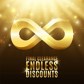 Final clearance, endless discounts. Background with light rays, stars and gold infinity symbol. Massive sale. Reductions. Vector illustration poster