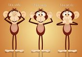 an Illustration of funny three wise monkeys poster