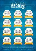 Calendar 2015 vector template week starts monday poster