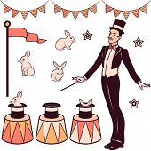 Set of magic performance elements the magician cylinder white rabbits and decorations poster