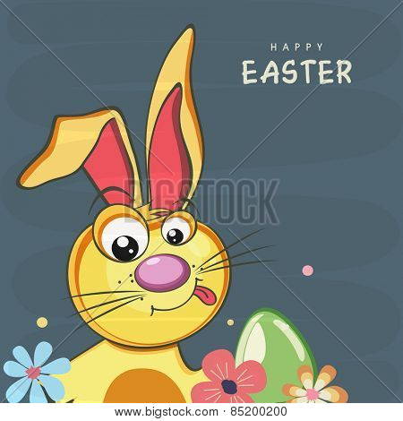 Happy Easter celebration greeting card design with cute bunny and egg on blue background.