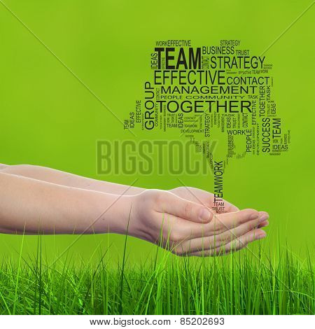 Concept conceptual text word cloud on man hand, tagcloud on green blur background and grass, metaphor to business, team, teamwork, win, management, effective, success, communication, company or group poster