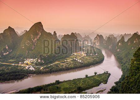 Xingping, China at the Li River and karst mountains landscape.