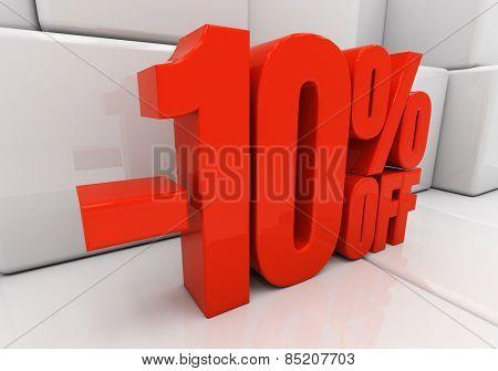 Red ten percent off. Discount 10. 3D illustration poster