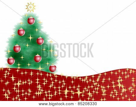 Christmas Tree With Glitter And Stars