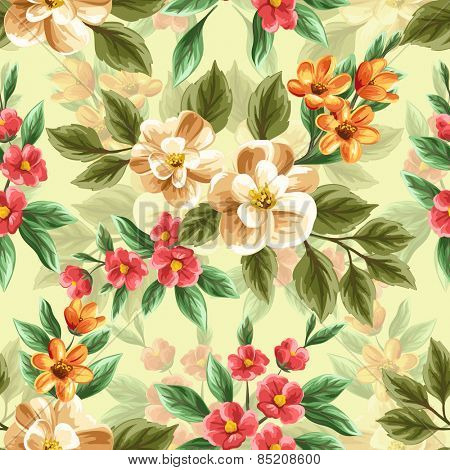 Floral seamless pattern with pink, white and red flowers and leaves on blue background.
