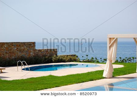 Swimming Pool With Jacuzzi At The Beach Of Modern Luxury Villa, Crete, Greece