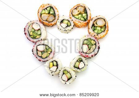 Heart Of The Rolls On Top On A White Background Isolated Overwhite