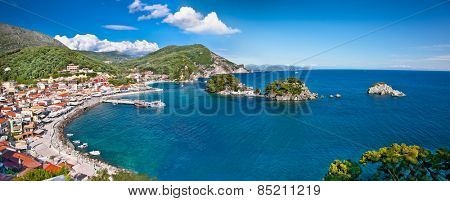 Beautiful panoramic view of Parga port, Greece.