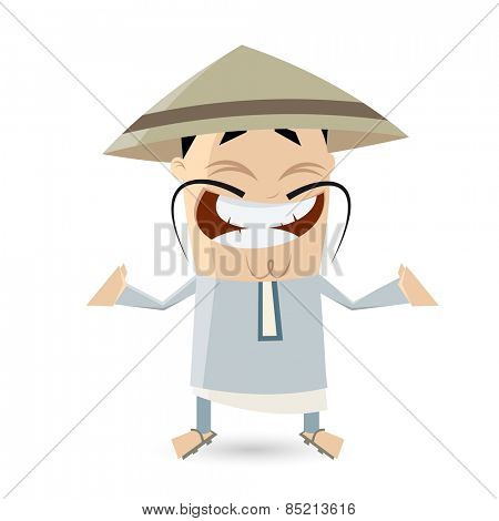 funny cartoon Chinese man