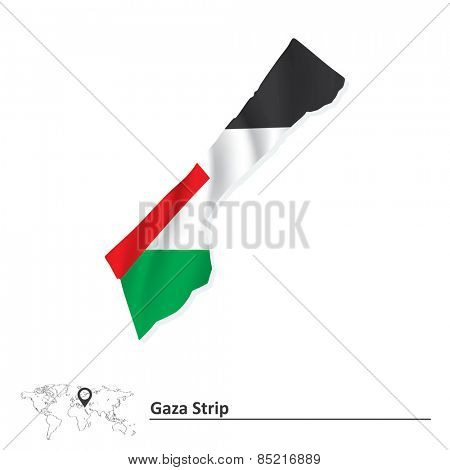 Map of Gaza Strip with flag - vector illustration