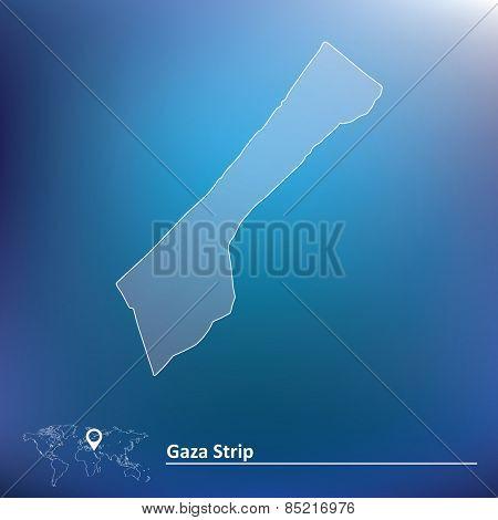 Map of Gaza Strip - vector illustration