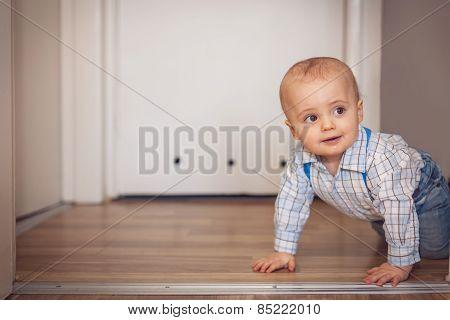 Little boy crawling