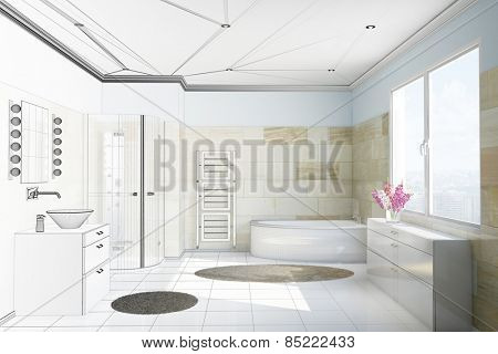 Planning of bathroom with terracotta tiles from moving from CAD blueprint to 3D Rendering