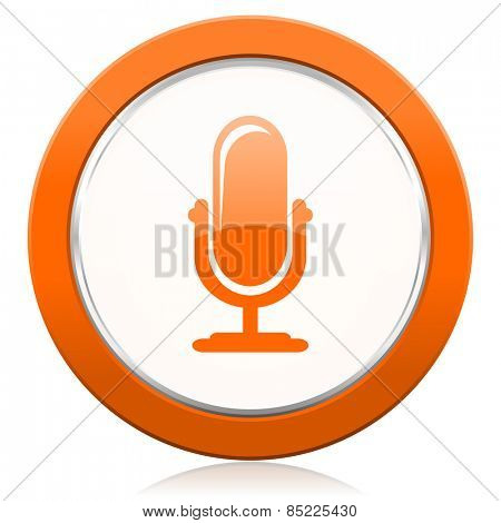 microphone orange icon podcast sign