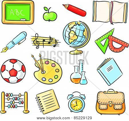 Set of 16 school thing representing different school subjects, no gradients poster