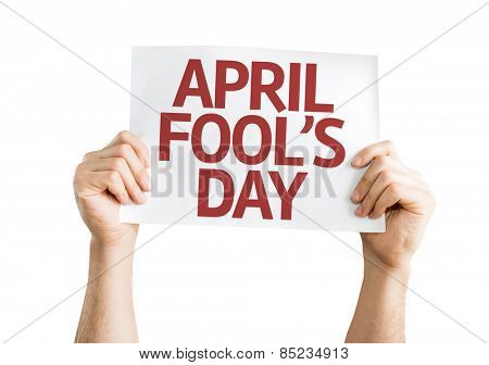 April Fool's Day card isolated on white background