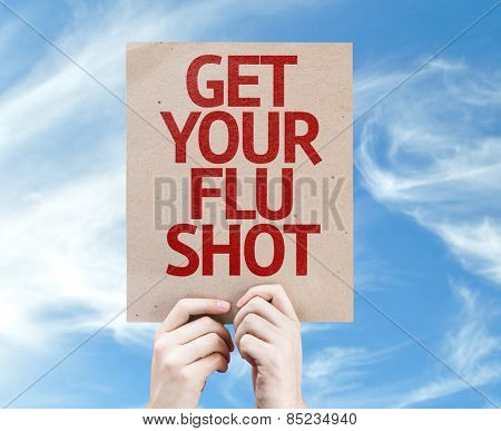 Get Your Flu Shot card with sky background