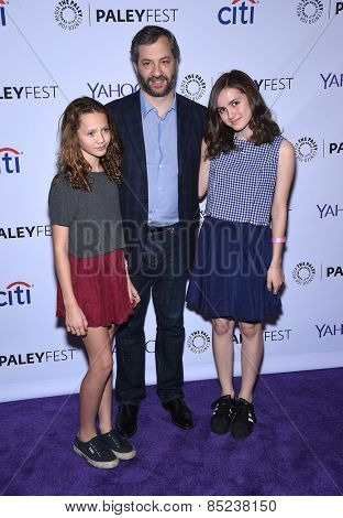 LOS ANGELES - MAR 08:  Judd Apatow, Maude Apatow and Iris Apatow arrives to the Paleyfest 2015