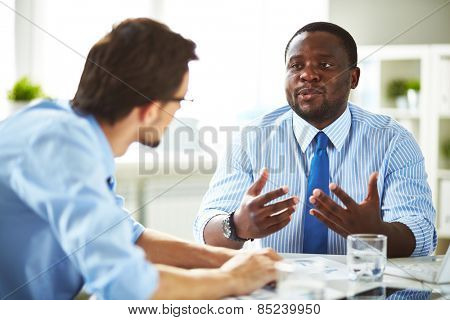 Two managers having conversation