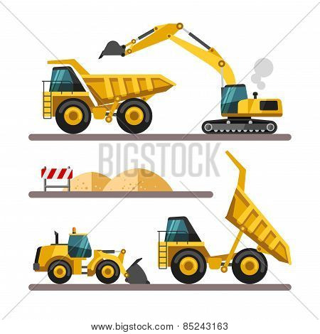 Set of building machines.