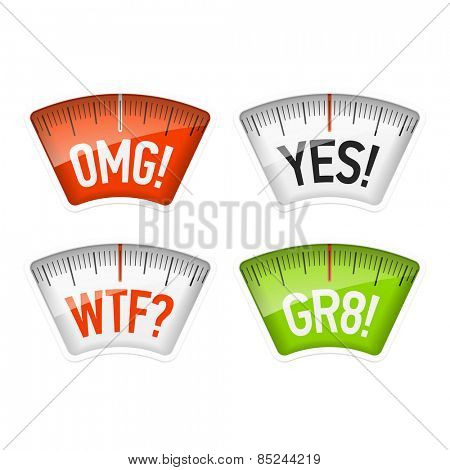 Bathroom scales displaying OMG, YES, WTF and GR8 messages, acronyms. Vector.