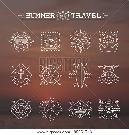 Line drawing vector illustration - Summer vacation, holidays and travel emblems signs and labels