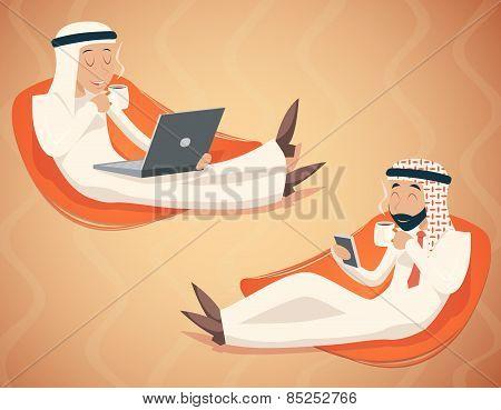 Arab Businessman Chat Laptop Mobile Phone Drink Coffee Tea Symbol Icon on Stylish Background Retro C