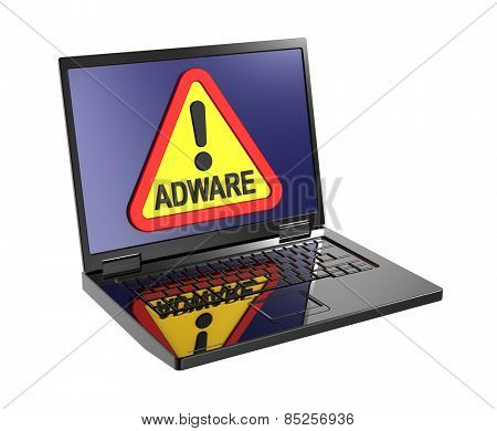 Adware warning sign on laptop screen. Computer generated 3D photo rendering.