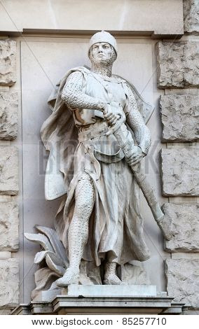 VIENNA, AUSTRIA - OCTOBER 10: Viktor Tilgner: Crusader, on the facade of the Neuen Burg on Heldenplatz in Vienna, Austria on October 10, 2014.