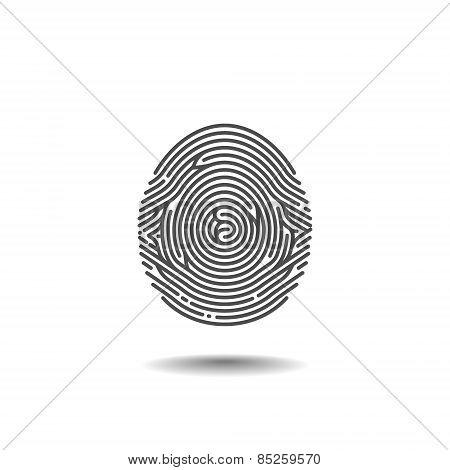Stylized Thumbprint Isolated On White Background. Vector Illustration