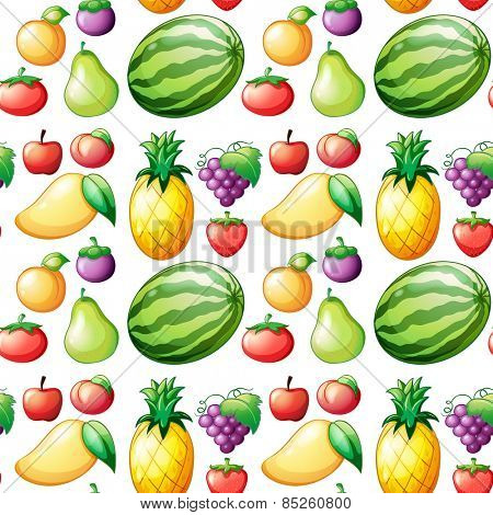 Seamless different kind of fruits
