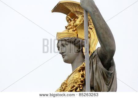 VIENNA, AUSTRIA - OCTOBER 11: Pallas Athene greek goddess of wisdom in front of Austrian parliament, Vienna, Austria on October 11, 2014.