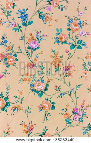 an old retro wallpaper with a floral pattern.