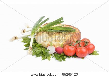 Fresh Homemade Natural Bread With Vegetables  On White Background