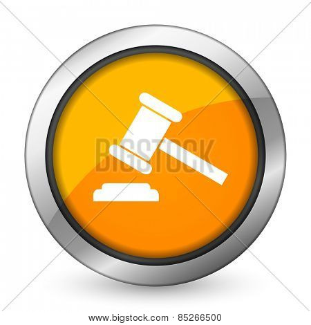 auction orange icon court sign verdict symbol  poster