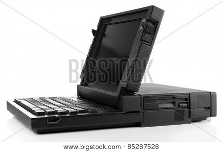 Old laptop isolated on white