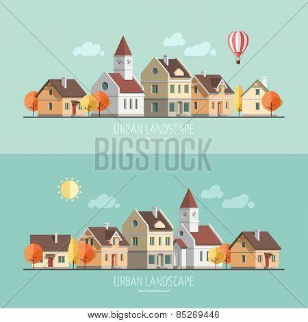 Flat design urban landscape. Autumn.