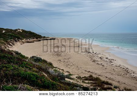 A View Of Fisherman's Hollow Beach In Cloudy Weather, Western Australia