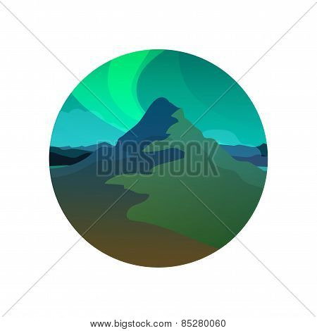 Northern Lights, Round Illustration